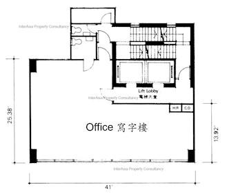 恒信商业大厦 -标准平面图